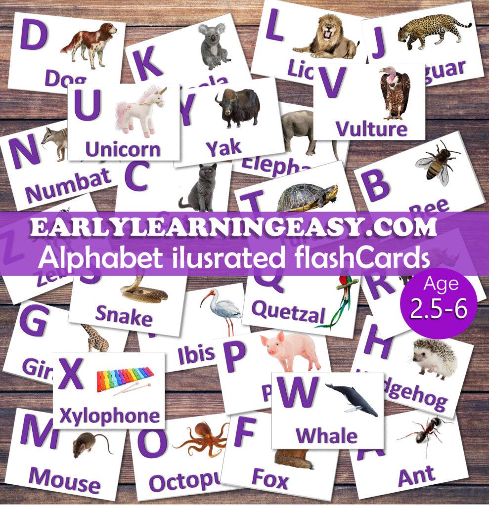 Alphabet flash cards for entire alphabet