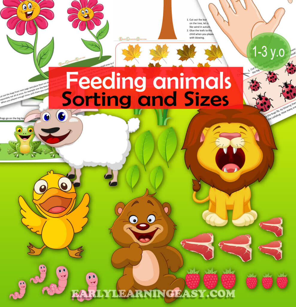 Feed the animals. Sorting and Sizes learning for toddlers. From 1 year old babies to 3 years old