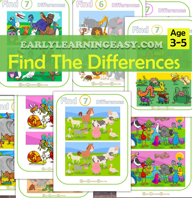 spot the differences and find the differences worksheets